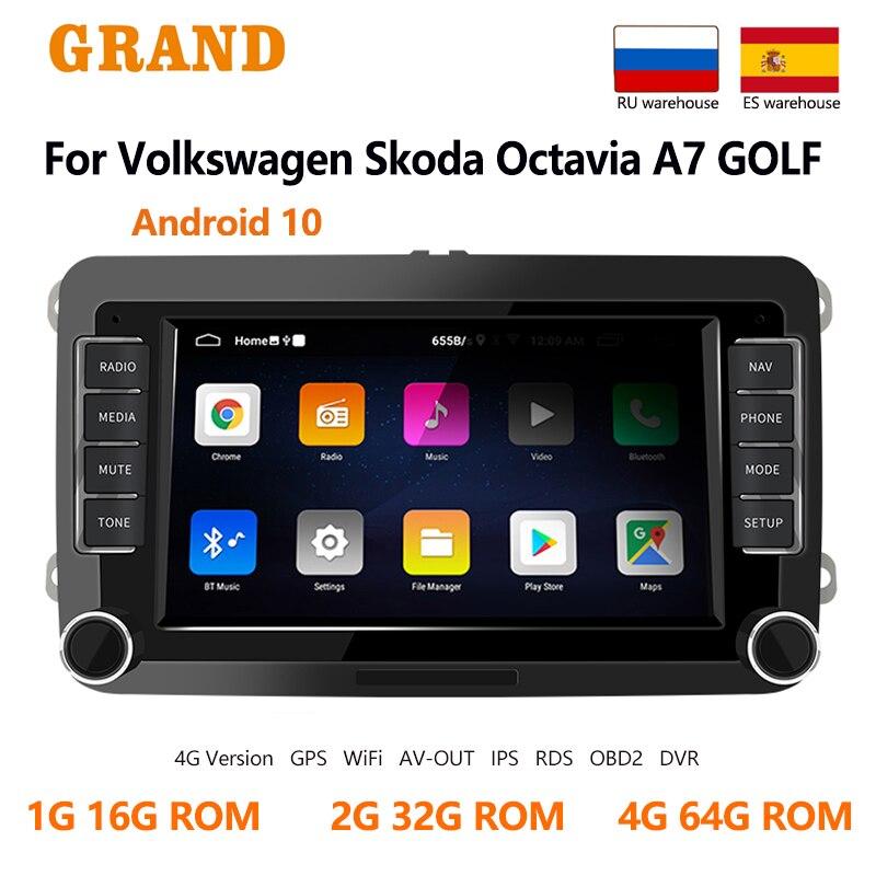 2 Din Android 10 Car Radio For Volkswagen/VW/Skoda/Seat/Passat b7/POLO/GOLF 5 6 Auto Multimedia Player 2din no dvd GPS Navi OBD2|Car Multimedia Player| - AliExpress