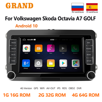 GRAND Android 10 For VW Volkswagen Touran Passat B5 B6 Skoda Yeti Superb Seat Leon GPS Auto Multimedia Player 2 Din Car Radio image