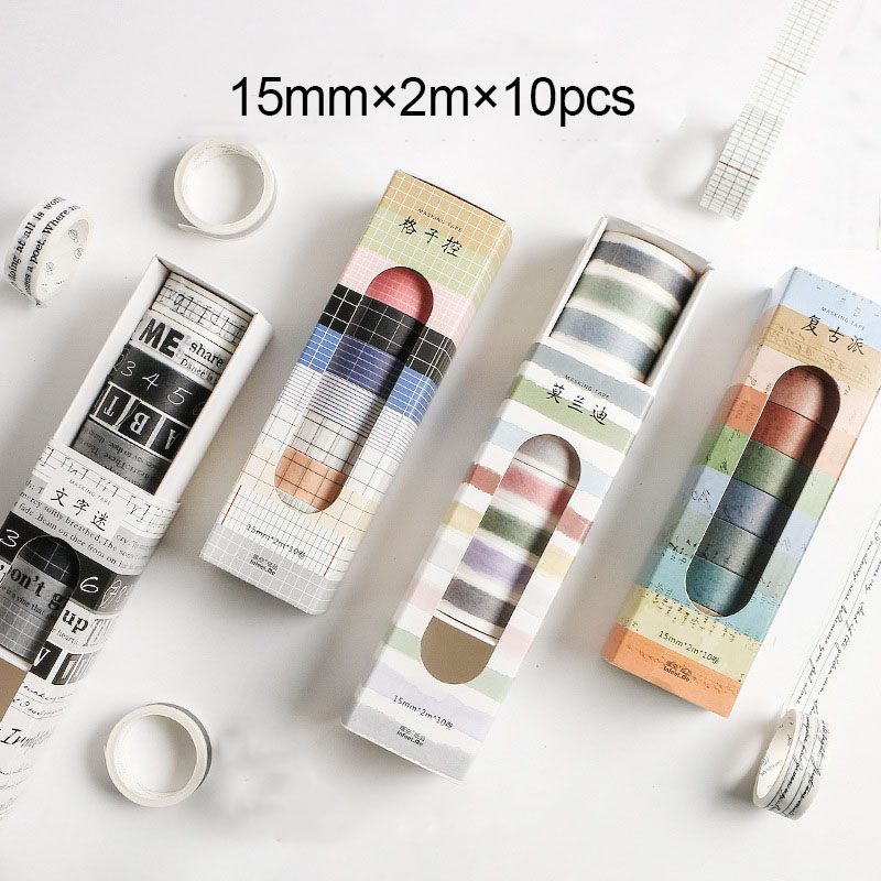 10 Pcs/pack Washi Tape Striped/Grid/Alphabet Decorative Stickers Washitape Japanese Paper DIY Planner Sticker Label Masking Tape