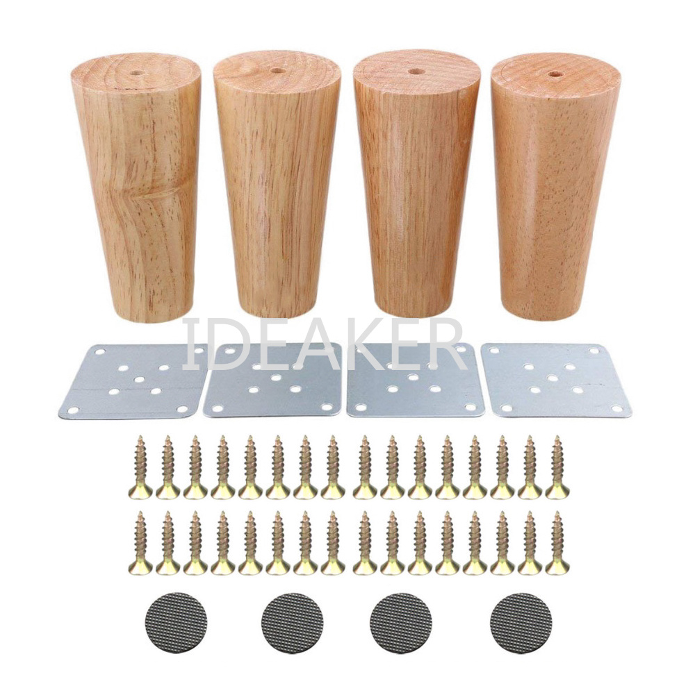 4PCS Oak Wood 120x58x38mm Furniture Legs Reliable Feet Cabinet Table Feet Sofa Legs With Iron Pads Gaskets Screws