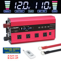 LCD screen Transformer adapter charger converter 12000W power inverter DC 12V/24V to AC 220V/110V with 4Fan 4usb remote control
