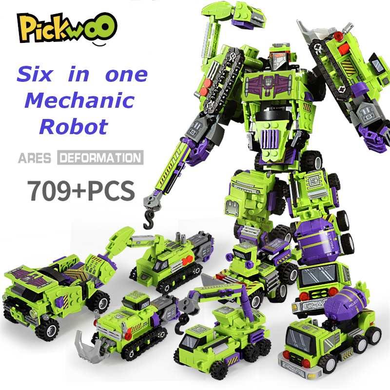 Pickwoo D18 709 Pcs 6in1 Deformable Robot Building Blocks City Engineering Excavator Car Truck Constructor Small Bricks Toys