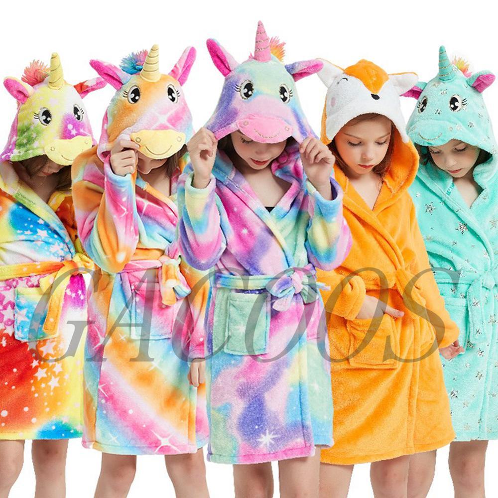 Winter Kids Bathrobes Cartoon Baby Bath Robe Stitch Unicorn Animal Hooded Towel Bathrobes For Children Robes Pajamas Nightdress