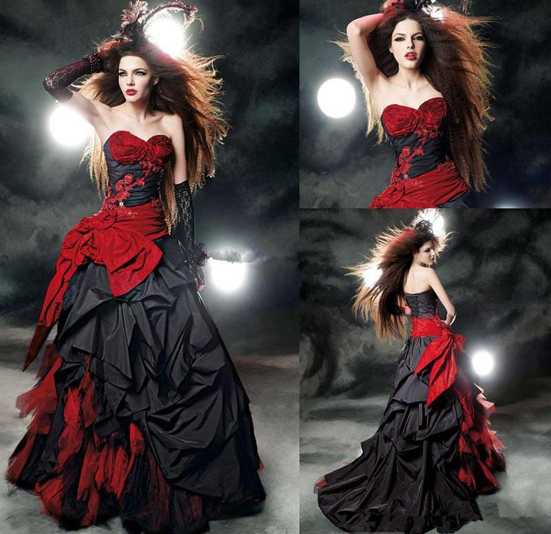 Vintage Black And Red Gothic Wedding Dresses Modest Sweetheart Ruffles Satin Lace Up Back Corset Top Ball Gown Bridal Dresses