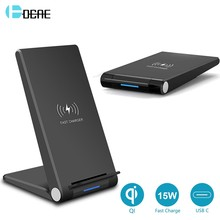 DCAE 15W Drahtlose Ladegerät Schnelle Lade Pad Stand QI USB C QC 3,0 Für iPhone 11 pro Max XS XR X 8 Airpods Pro Samsung S20 S10 S9