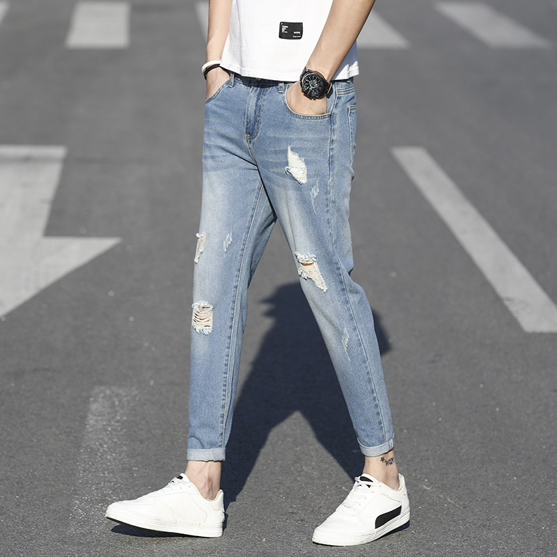 Men's Washed Jean PantsSpring Autumn Men's Elastic Cotton Stretch Jeans Pants Loose Brand Fashion Wear And Fit Denim Trousers