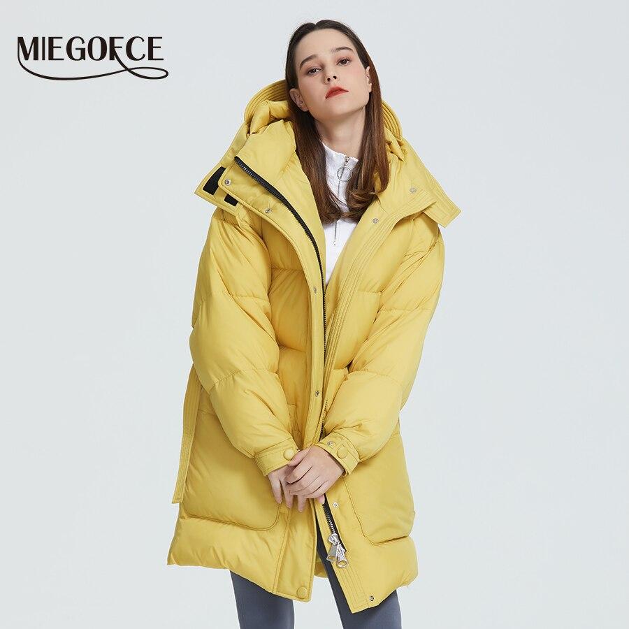 MIEGOFCE 2019 Новый дизайн зимнее пальто женская парка утепленная свободного кроя с накладными карманами Повседневная Свободная Куртка стойкий ...