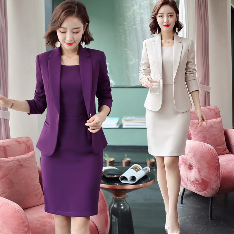 2020 Purple Women Formal Dress Suit Ladies Elegant Business Office Wear Blazer Suits Long Sleeve Blazer Jacket Dresses Plus Size