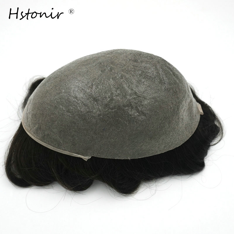 Hstonir 1B Mens Toupee Thin Skin PU Remy Hair Mens Hair Replacement Systems Hairpiece V-loop H080