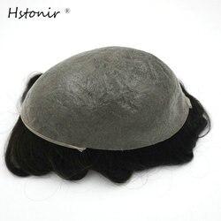 Hstonir 1B para hombre, peluquín de piel fina PU, cabello Remy para hombre, sistemas de repuesto de cabello, peluca v-loop H080