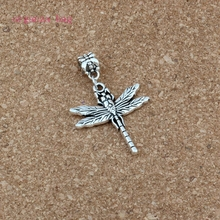 100pcs/lots Antique silver Cute Dragonfly Alloy Dangle Charm Beads Fit necklace DIY Accessories 28.2x43.5mm A-555a