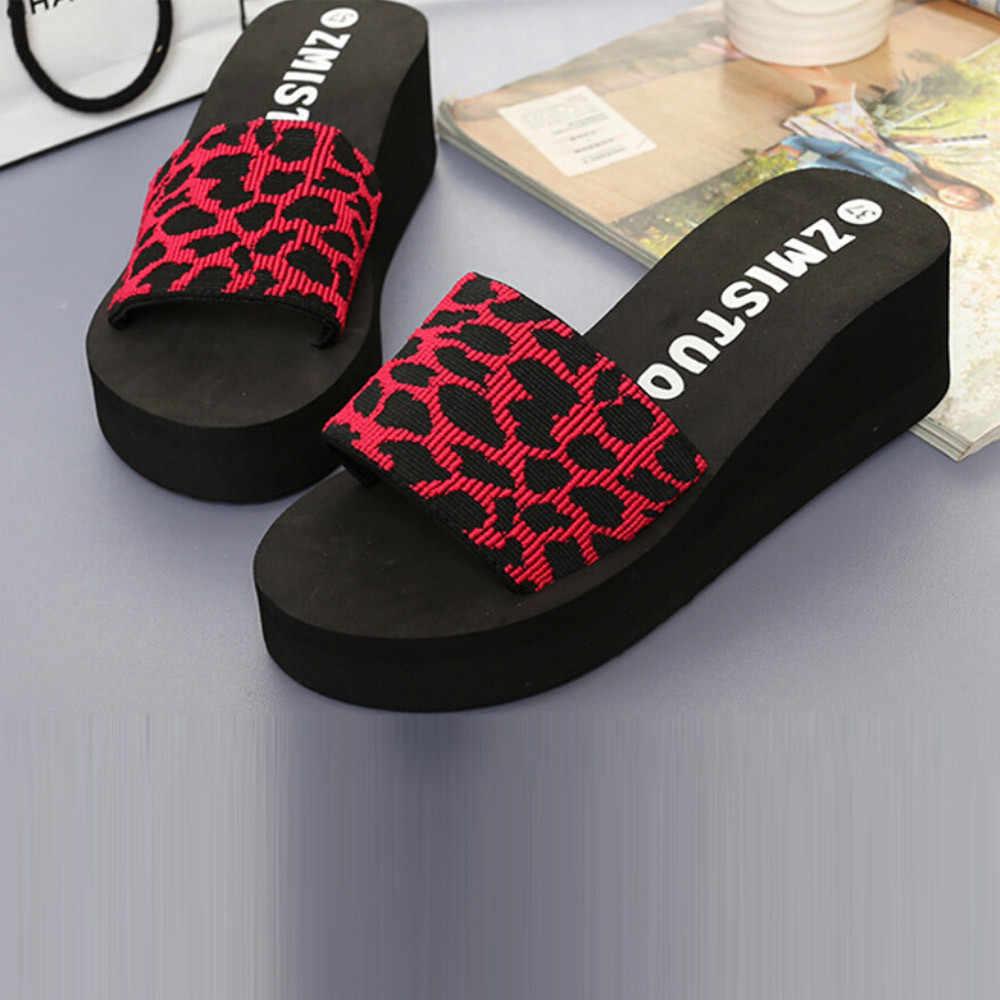 #25 2019 Phụ Nữ Mới Chống Trơn Trượt Giày Đế Mùa Hè Nữ Giày Nữ Nền Tảng Tắm Dép Nêm Bãi Biển Dốc Xỏ Ngón giày Slip