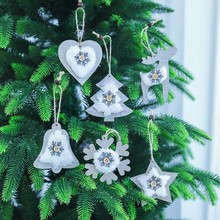 2PCS Christmas Wooden Bell pendant Plush Hanging Decoration Snowflake Tree Festive Party Supplies