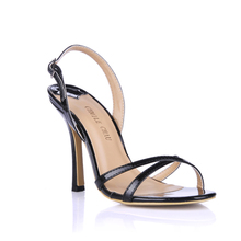 цена на Summer New 10cm High Heeled Sandals Fashion Patent Stiletto Thin heel Sling Back Open Toe Sexy Party Dress Women Shoes 7-b