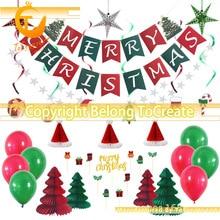 Christmas Party Decoration Set Christmas Letter Pull Flag Spiral Tag Cake Flag Christmas Tree Christmas Hat spiral style plush christmas hat red white