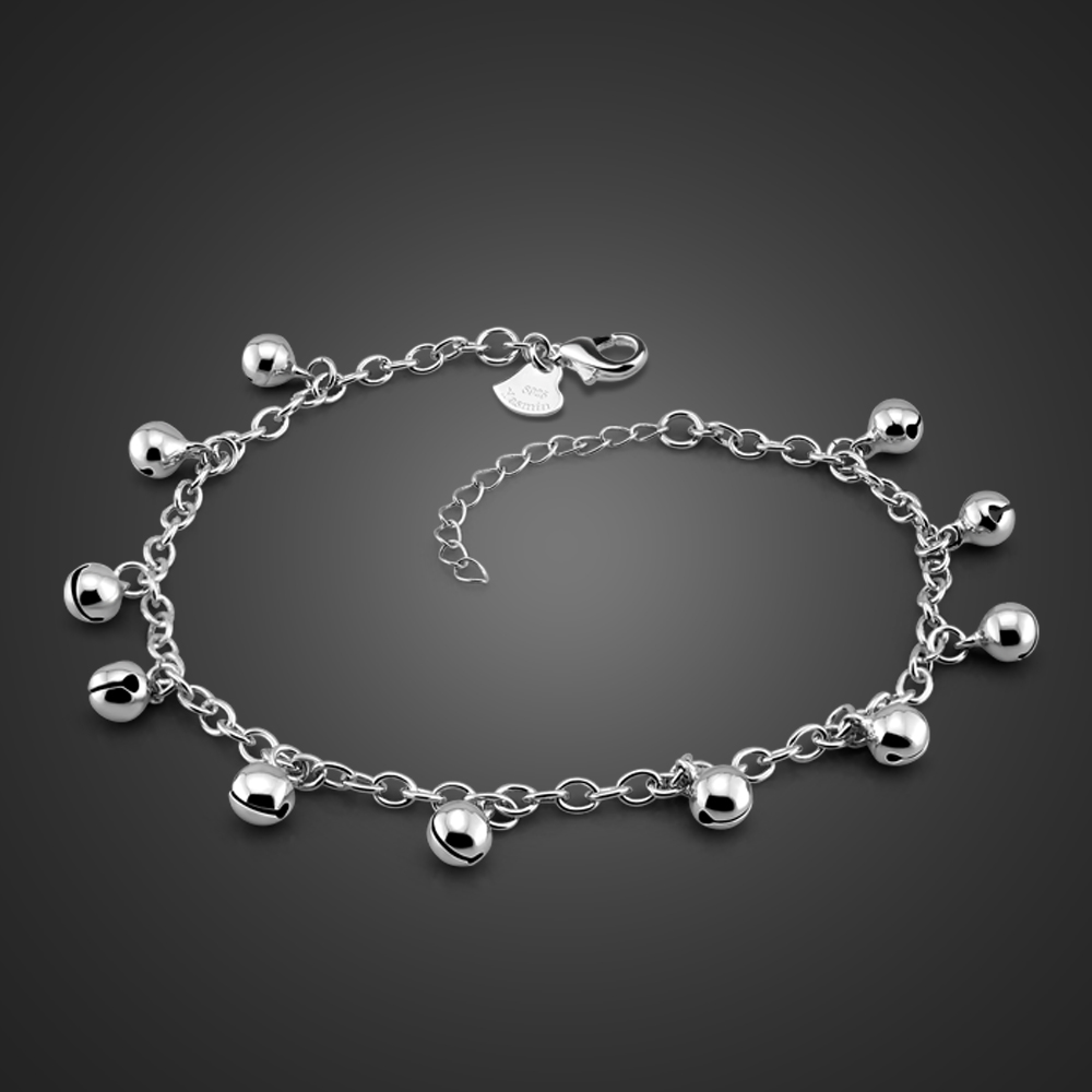 Fashion cute girl bell anklets.Women solid 925 silver chains.Contracted 26cm ball anklets.Charming lady sterling silver jewelry