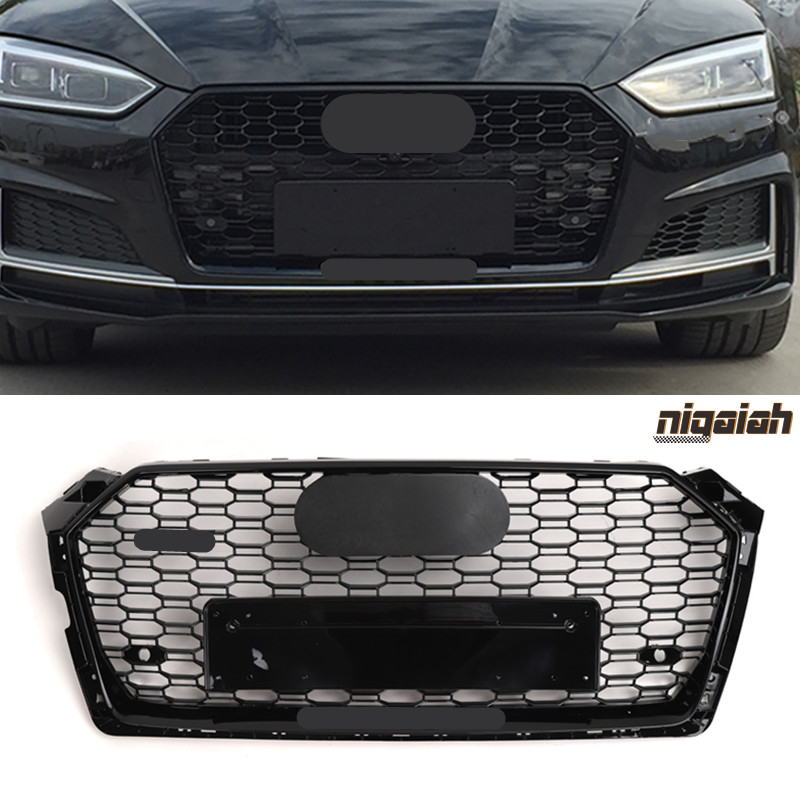 RS5 Style Racing <font><b>Grills</b></font> Front Face Mesh For <font><b>Audi</b></font> <font><b>A5</b></font> S5 B9 2017 2018 2019 Honeycomb Hood <font><b>Grill</b></font> Mesh with Emblem Black & Chrome image