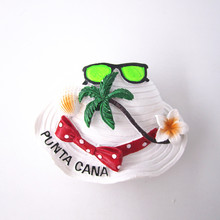Fridge Magnet Souvenir Sunglasses Visor the Sea Punta Cana Dominican Handpainted Resin 3D refrigerator Magnets Crafts Countries т рюкзак punta cana