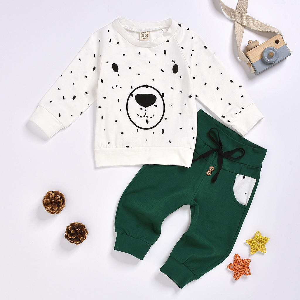 Newborn Clothes Kids Clothes Baby Boy Clothes roupa infantil Cartoon Bear Sweatshirt Tops+ Pants Outfits Set Free Ship Z4 2