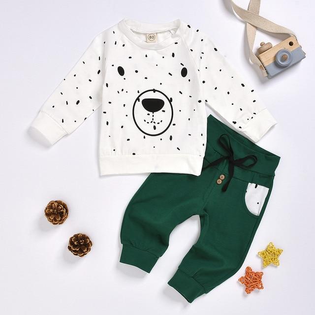 Newborn Clothes Kids Clothes Baby Boy Clothes roupa infantil Cartoon Bear Sweatshirt Tops+ Pants Outfits Set Free Ship Z4 2
