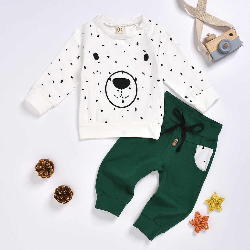 신생아 옷 키즈 옷 아기 소년 옷 roupa infantil 만화 곰 셔츠 탑스 + 바지 의상 세트 무료 배송 Z4