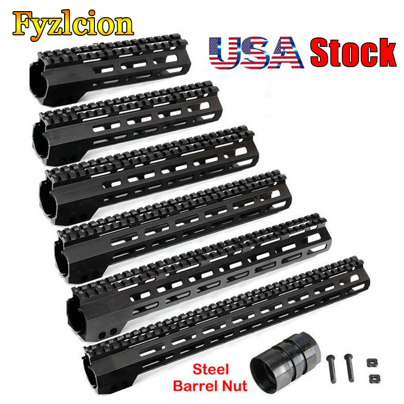 Tactical Rifle Scope Mount 7 9 10 12 13.5 15 17 Inch AR15 Free Float M-LOK Keymod Handguard for Hunting Trail w Steel Nut