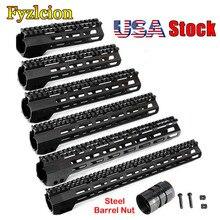 Tactical Rifle Scope Mount 7 9 10 12 13.5 15 17 Inch AR15 Free Float M-LOK Keymod Handguard for Hunting Trail w Steel Nut цена
