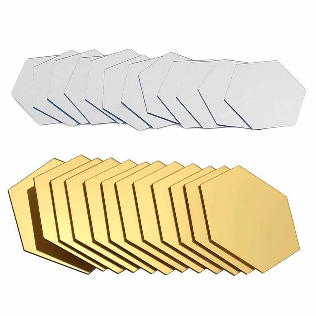 12 pçs hexágono removível impermeável auto-adesivo espelho adesivos casa de banho cozinha adesivos de parede decoração da cozinha