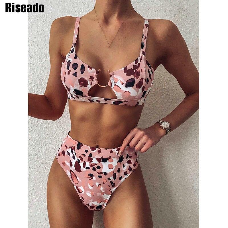 Riseado Sexy Mirco Bikinis 2020 Leopard Swimwear Women High Waisted Swimsuit Brazilian Bikini Set Push Up Beach Wear Biquini