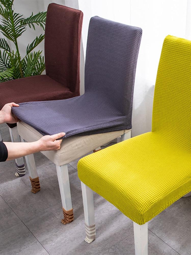 Effen Kleur Stoel Cover Spandex Hoezen For a Eetkamer Stretch Elastische Stoel Covers Banket Hotel Keuken Bruiloft