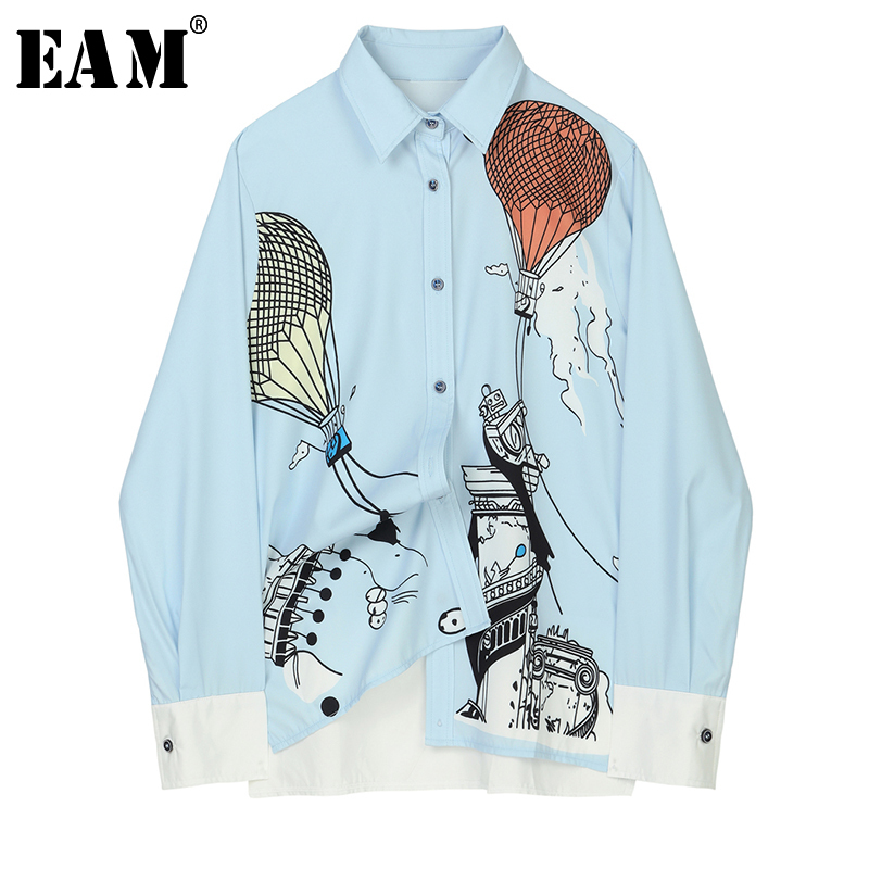 [EAM] Women  Pattern Print Blue Blouse New Lapel Long Sleeve Loose Fit Shirt Fashion All-match Spring Autumn 2020 JZ227