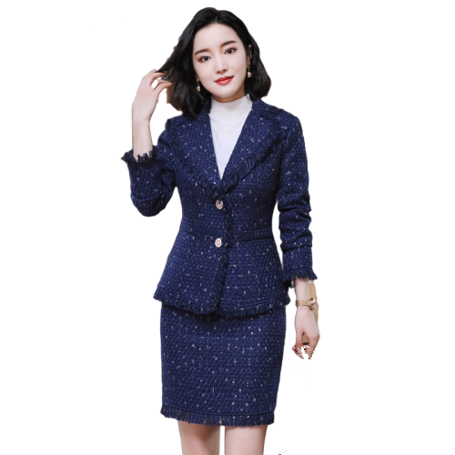 Women Two Piece Formal Suit for Working Woman 2020 Autumn Winter Office Wear Jacket with Skirt Office Tweed Skirt Blazer Set