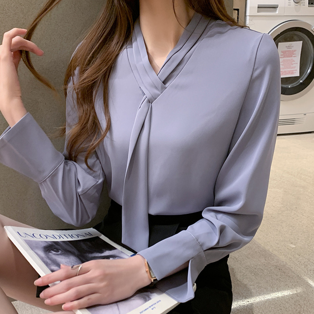 Office Lady Shirts and Blouses Women 2021 Autumn Fashion Bow Shirt Solid Loose Pullover Plus Size Long Sleeve Chiffon Tops 11050 4