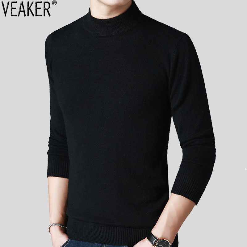 2019 New Men's Solid Color Turtleneck Sweater Pullovers Male Black Red Slim Fit High Neck Sweaters Knitted Pullover Tops M-3XL
