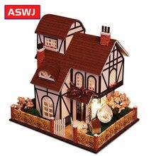 Миниатюрный Кукольный Дом DIY кукольный домик цветочный город с деревянная мебель для дома игрушки для детей Классические рождественские подарки