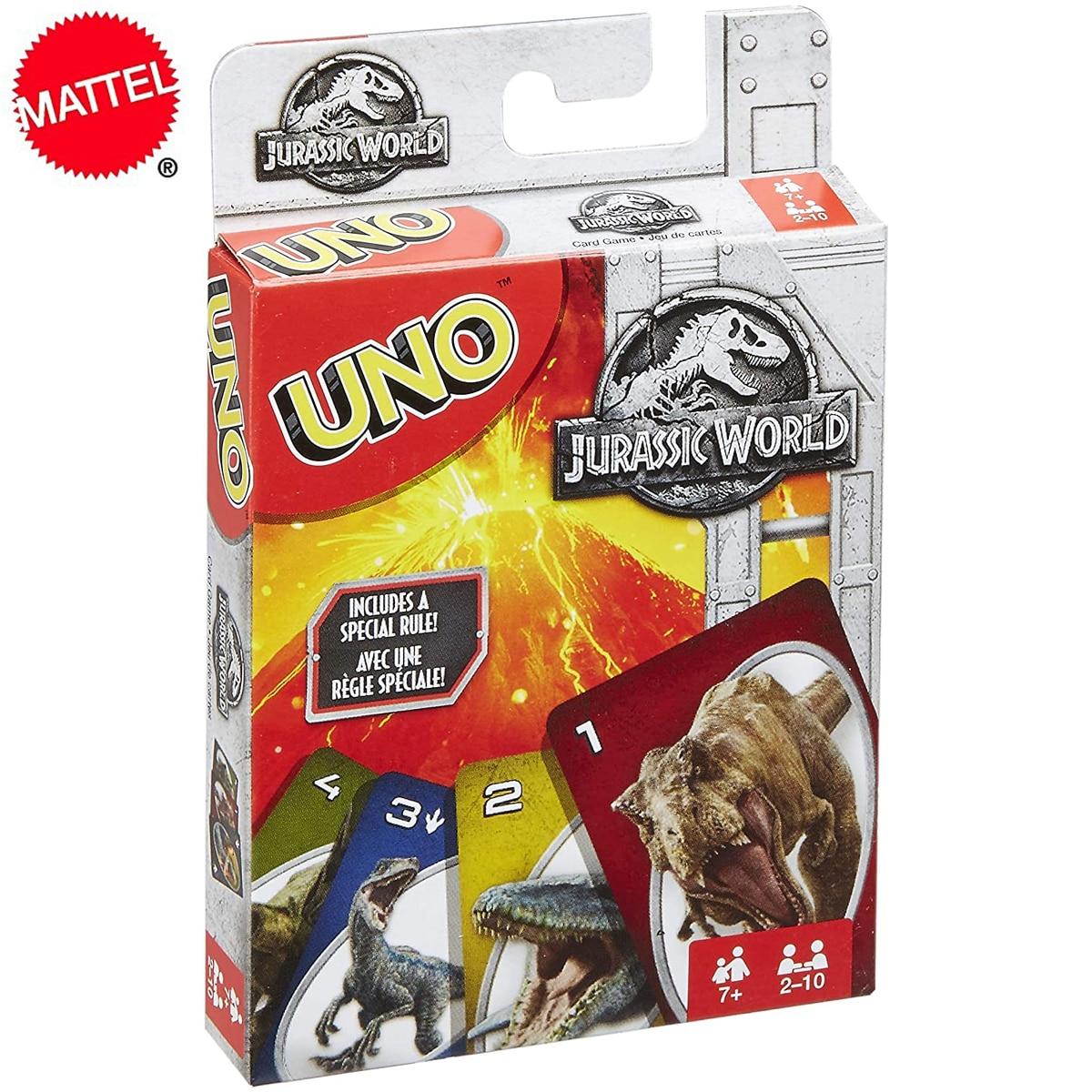 Mattel с рисунком динозавра из мультфильма «Парк Юрского периода», флип-чехол в UNO игры карточные игры Семья забавные развлечение настольная и...