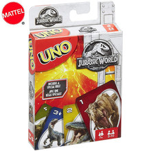 Mattel Jurassic World Dinosaur Flip of The UNO Games Card Game Family Funny Entertainment Board Game Poker Cards Game Gift FLK66