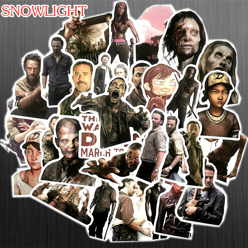 50PCS/set TV Series The Walking Dead Stickers For On The Laptop Fridge Phone Skateboard Travel Suitcase Luggage Horror Sticker