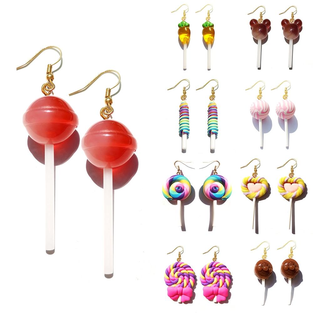 Earring For Women Resin Lollipop Drop Earrings Children Jewelry Custom Made Handmade Cute Girls Cotton Candy Gift|Drop Earrings|   - AliExpress