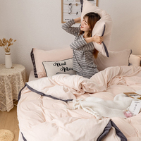 Solid Color Bedding Set Coral Fleece 4pcs Bed Sets Bedclothes Duvet Cover Sheets Pillowcase Winter Thicken Comfortable Coverings