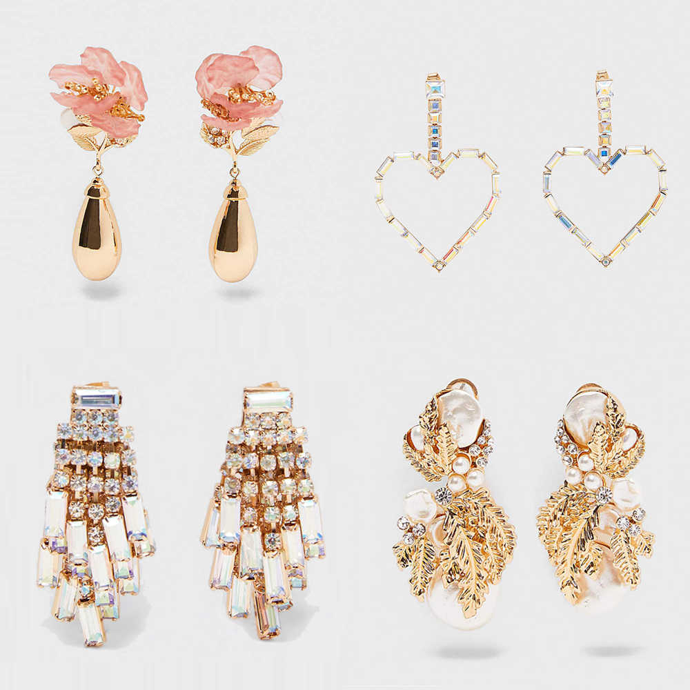 Vedawas  Za Vintage Gold Sparkly Pearl Drop Earrings Trendy Shiny Crystal Tassel Heart Statement Earrings Charm Jewelry xg3362