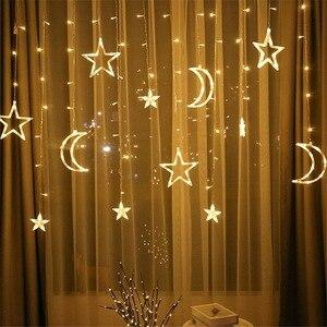 Светодиодный светильник с Лунной звездой, Рождественский светильник, s украшение, праздничный светильник, s занавес, лампа, Свадебный неоновый фонарь, сказочный светильник