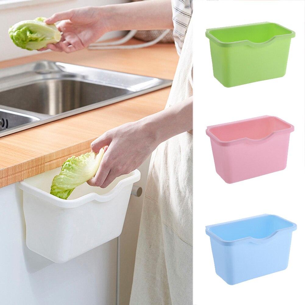 1 pieza nueva gran oferta cubo basura colgar cocina armario puerta cesta de plástico cubo basura colgar Basura útil caja de basura|Cajas y recipientes de almacenamiento|   -