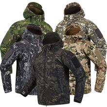 Lurker skóra rekina miękka powłoka kurtka taktyczna mężczyźni wodoodporna wiatrówka płaszcz polarowy polowanie ubrania wojskowy kamuflaż kurtka wojskowa tanie tanio qiqichen CN (pochodzenie) zipper Kurtki płaszcze Winter Military Jacket Men REGULAR Hat odpinany Poliester bawełna Camouflage