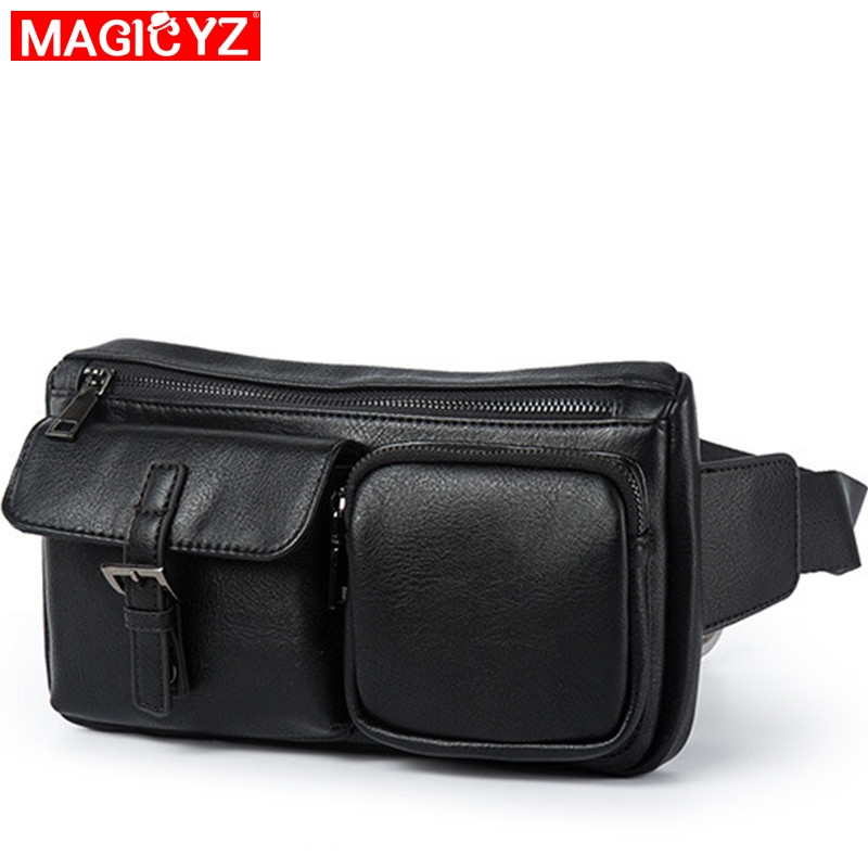 MAGICYZ 2020 NEW Leather Waist Bags Men Black Fanny Pack Male Belt Bag Multi-pocket Waist Packs Chest Phone Pouch Belly Bags