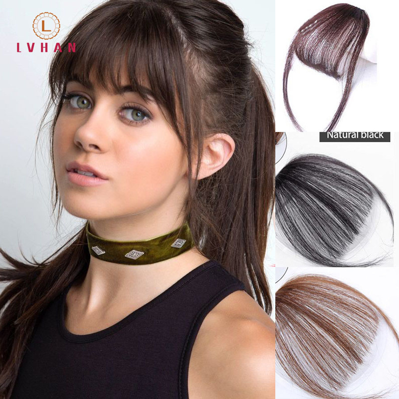 LVHAN Black Brown Red Fake Bangs Hairpin Hair Extensions Synthetic Wig Clip In Hair Accessories High Temperature Fiber