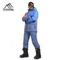 SAENSHING Brand Ski Suit Men Mountain Skiing Suit For Men Waterproof Thermal Snowboard Jacket + Ski Pants Breathable Winter Snow
