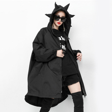 [EAM] Women Green Big Size Asymmetrical Trench New Hooded Long Sleeve Loose Fit Windbreaker Fashion Autumn Winter 2019 1A812