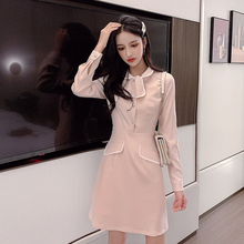 Pink Korean Style Kawaii Dress Women Long Sleeve S-XL Bowtie Elegant Ladies Dresses Sweet Button A Line Mini Vestidos Mujer 2019 pink korean style kawaii dress women long sleeve s xl bowtie elegant ladies dresses sweet button a line mini vestidos mujer 2019