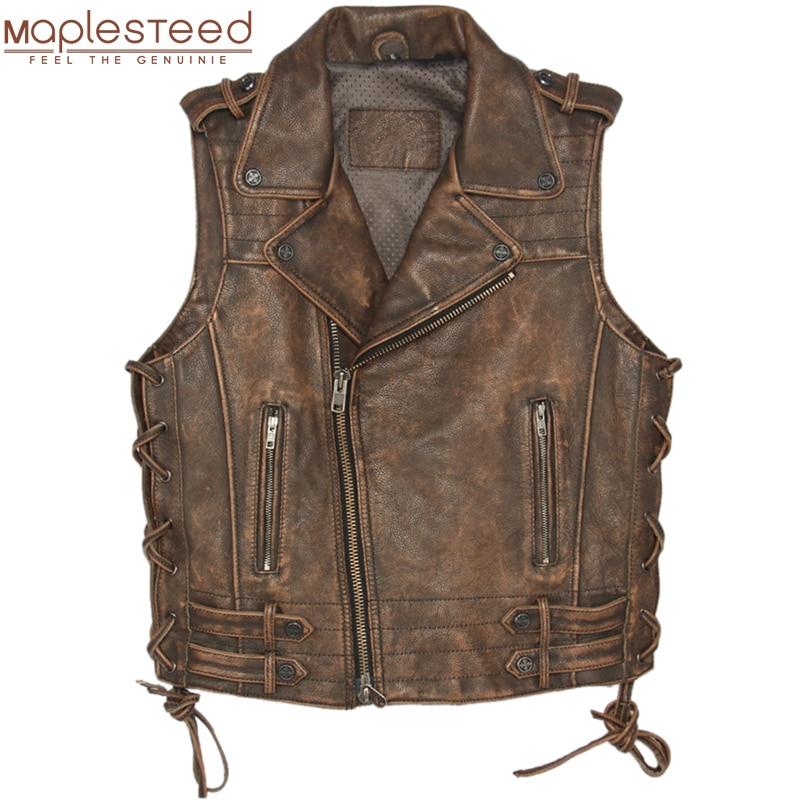 Vintage Brown Thick Motorcycle Leather Vest 100% Genuine Cowhide Men Biker Vest Motor Waistcoat Man Sleeveless Jacket M051